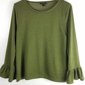 J Crew Sparkle Bell Sleeve Top Green Gold Size M
